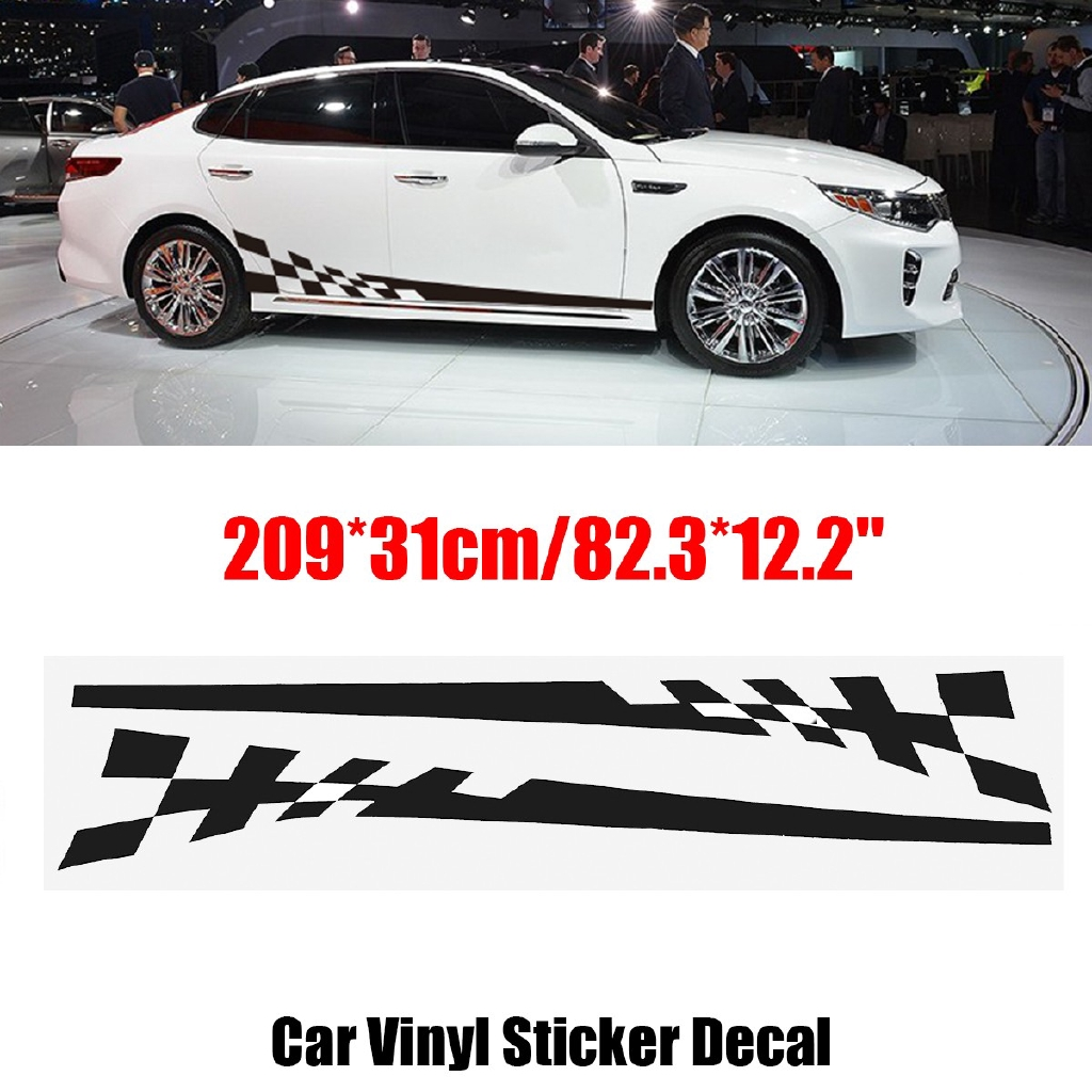 2pcs car side body vinyl decal sticker racing sports long stripe shopee malaysia