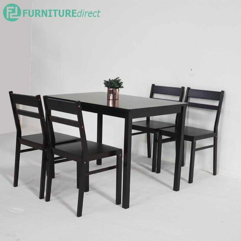 HIRA 4 seater solid wood dining set/ meja makan