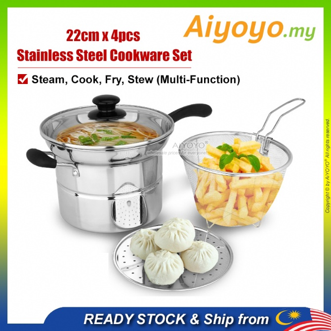 22cm Noodle Pot Cooking Pot Cooker Pan Periuk Mee Pengukus Steamer Periuk Kukus Cookware Deep Fry Fryer Steam Stew Rice