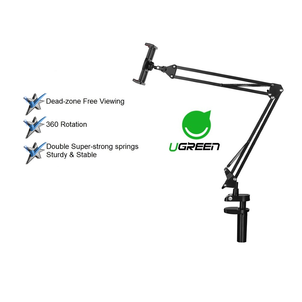 UGREEN Tablet Mount Lazy Holder Adjustable Long Arm Clamp Compatible iPad iPhone Samsung Nintendo Switch Max 12.9 Inch