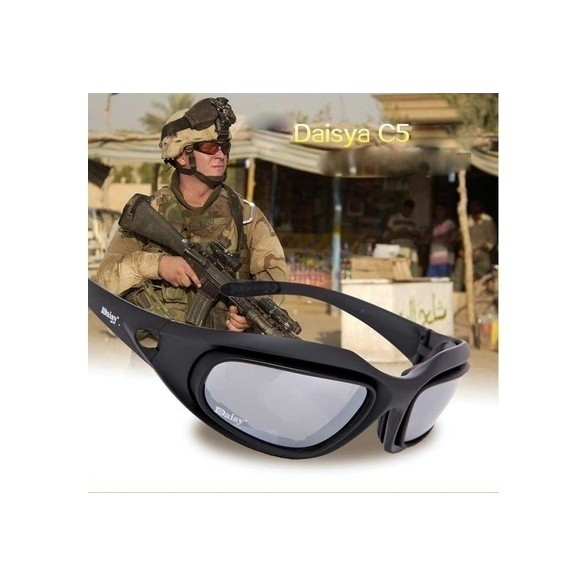 Orologi E Gioielli C5 Polarized Tactical Goggles Desert 4 Lenses Outdoor Uv400 Protection Glasses Hunting Military War Game Glasses