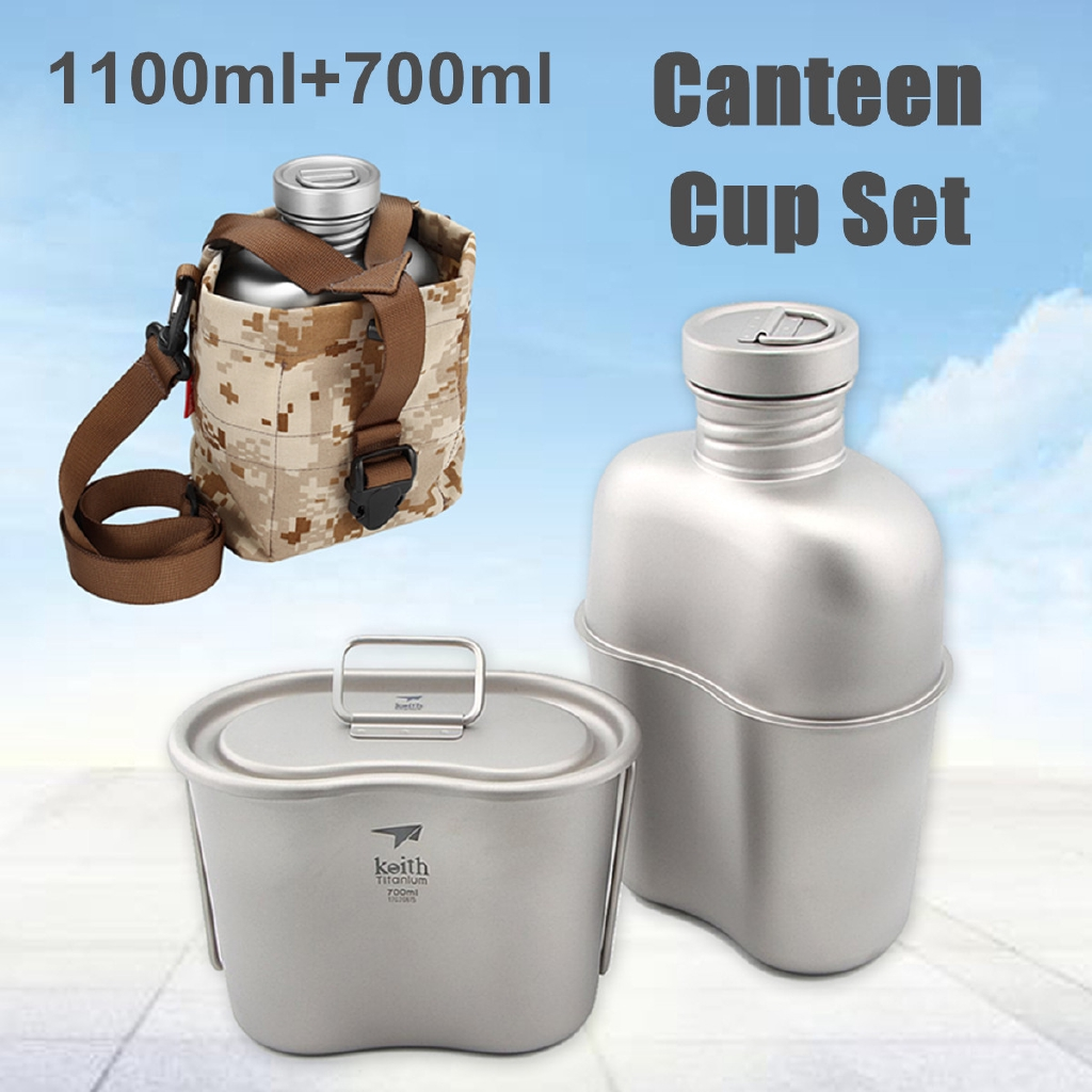 Keith Titanium Canteen Camping Army Military Water Bottle Ultralight Lunch Box