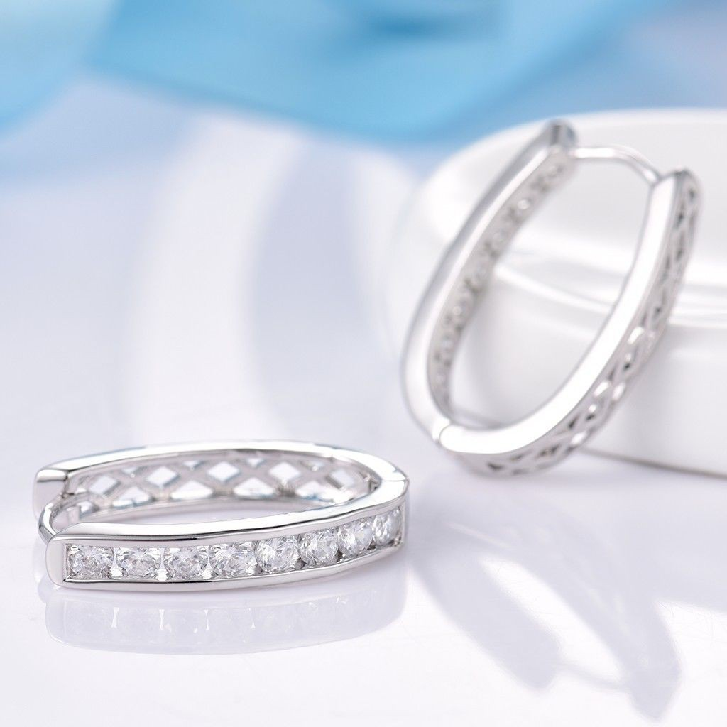 18K White Gold Filled Bling Charms Sapphire Crystal Fashion Women Hoop Earrings