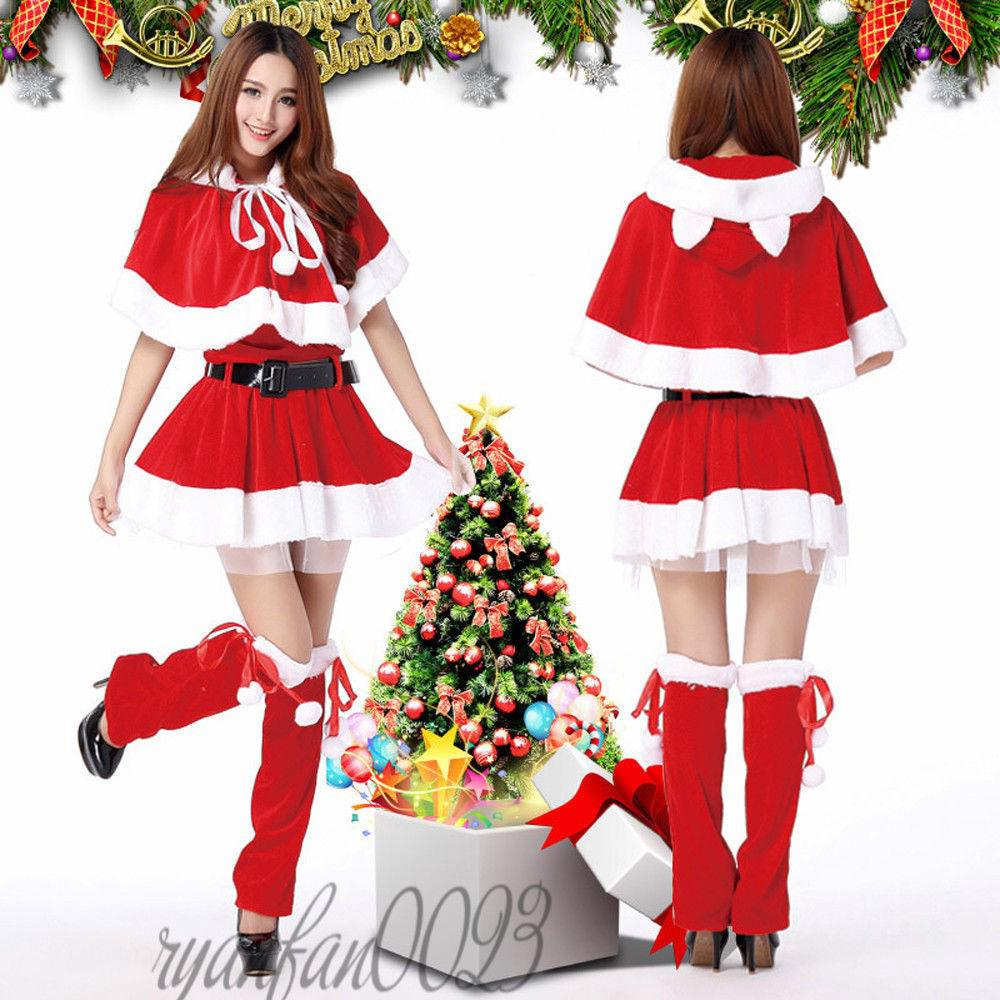 Christmas Fancy Dress.Women Santa Claus Suit Set Father Christmas Fancy Dress Cosplay Costumes