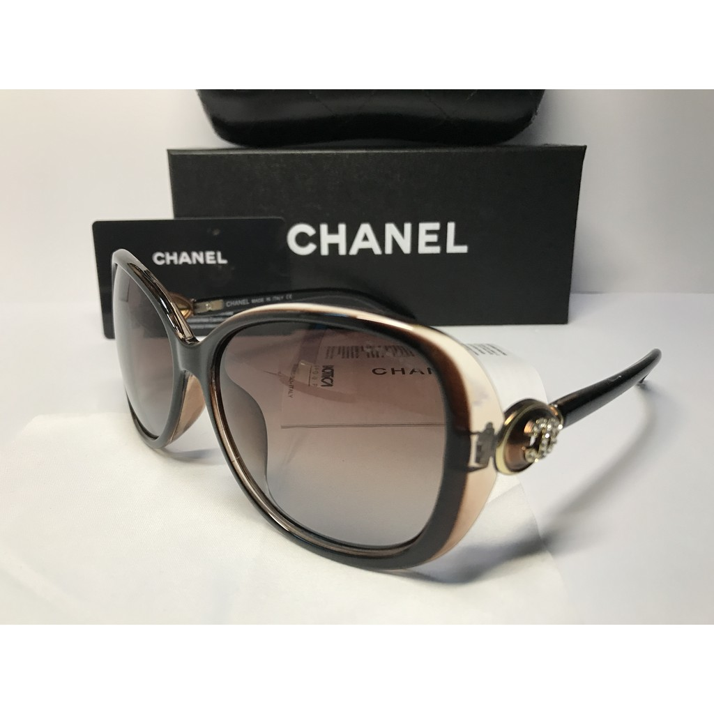 270e07384d1b Chanel Polarized Gold Logo Embellished Oversized Round Sunglasses | Shopee  Malaysia