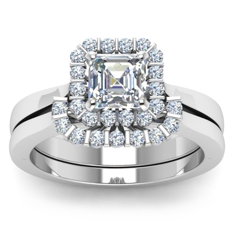 Exquisite Women 925 Sterling Silver Ring White Sapphire Diamond