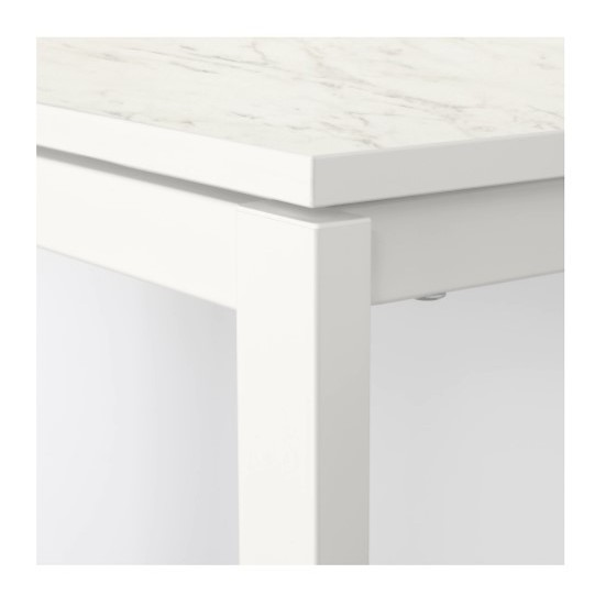 Original Melltorp Teodores Table And 2 Chairs White Marble Effect
