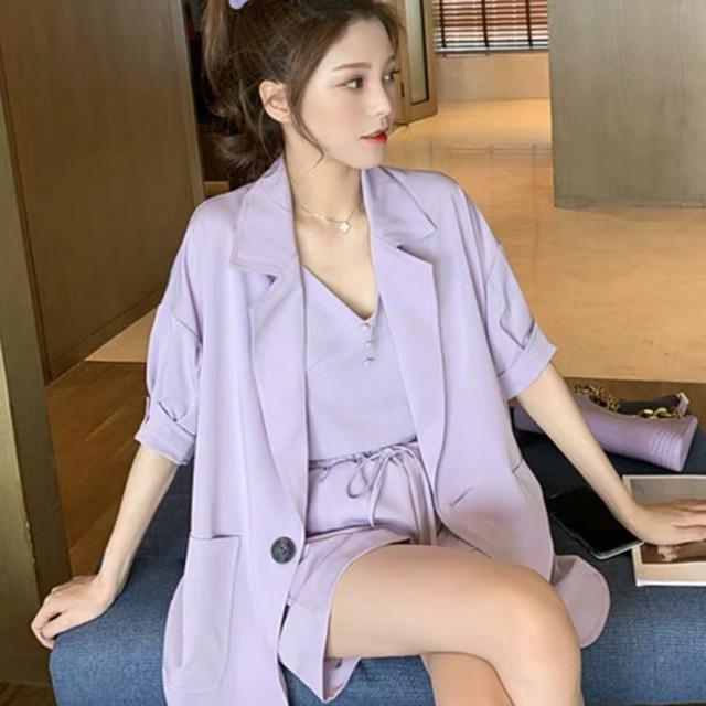 【S~XL】Ladies 3 Piece Suits 气质女神范网红小西装三件套女夏季薄款外套背心阔腿短裤洋气套装