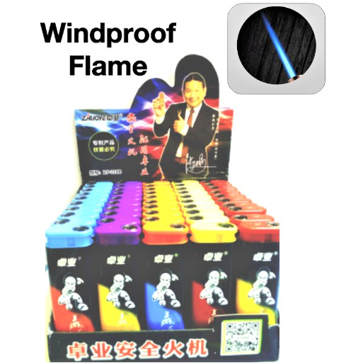 ZHUO YELighter Mixed Colour Design Wind Proof Jet Flame Refillable Gas Lighter 50pcs