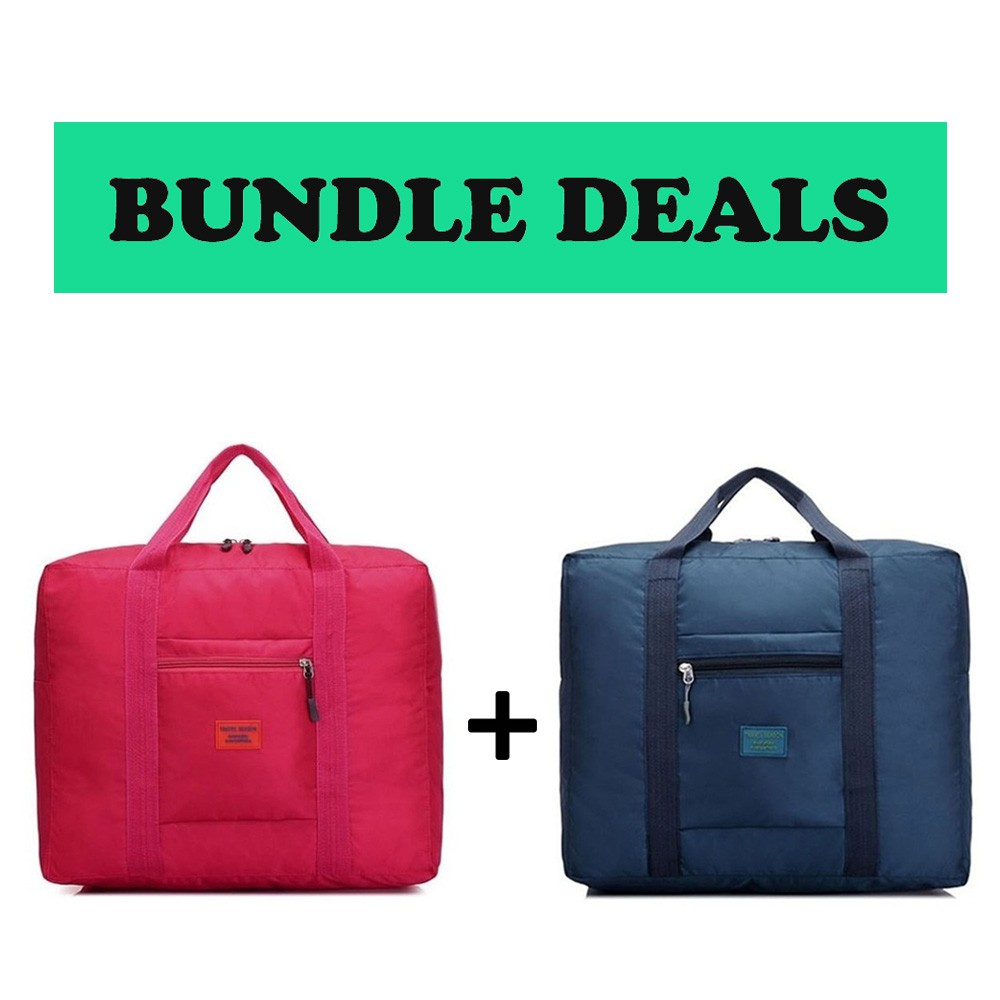 Perfect Travel Companion Foldable Luggage Bag Navyblue Rose Red Bundle Deal