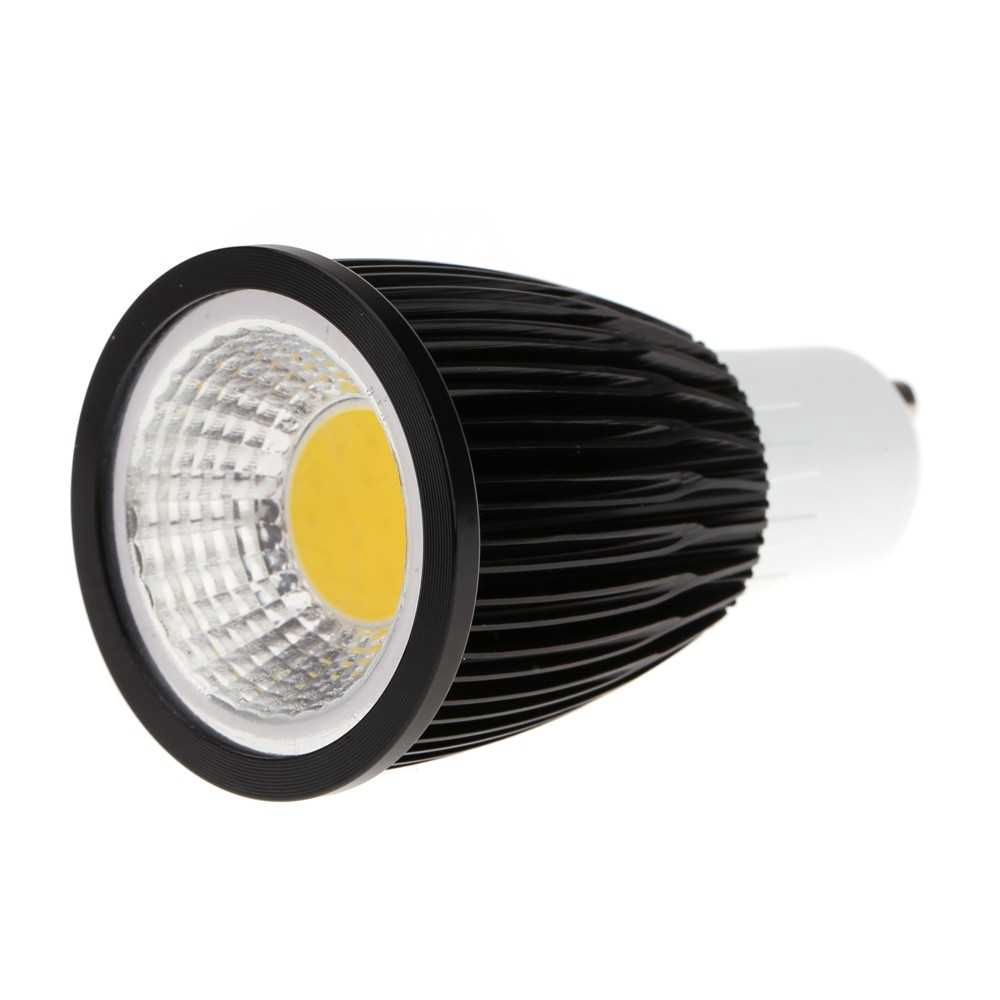 GU10 7W COB LED Spotlight Bulb Lamp Energy Saving High Brightness Warm White Black 85-265V (Black)