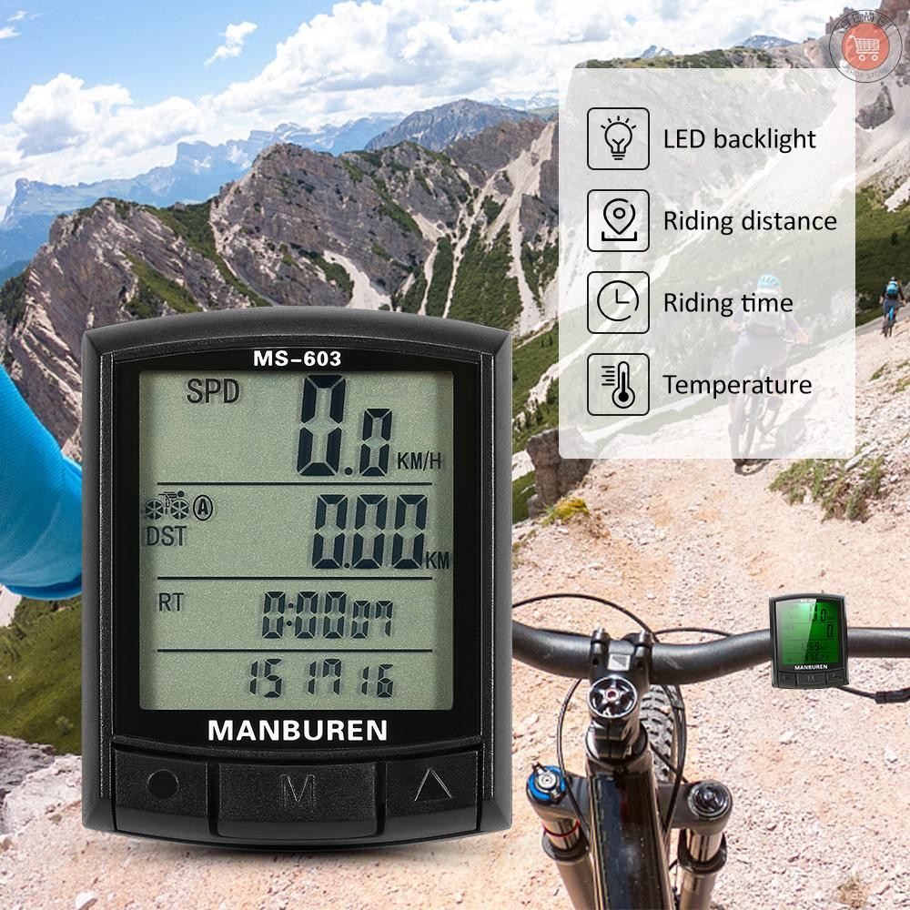 "2.1/"" Wire Wireless Cycling Waterproof Bike Computer LED Speedometer Odometer RM"