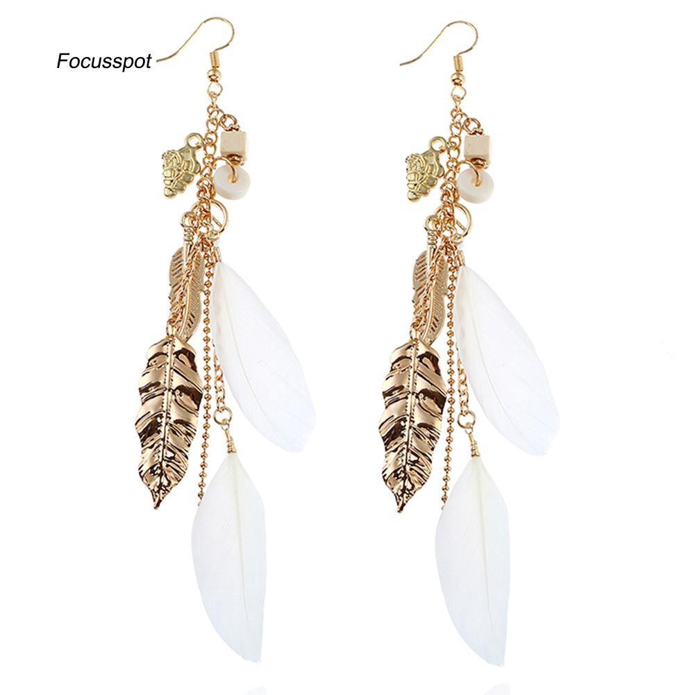 c9e6273437432 FSTP_Fashion Women Peace Symbol Feather Charm Dangle Long Hook Earrings  Jewelry Gift