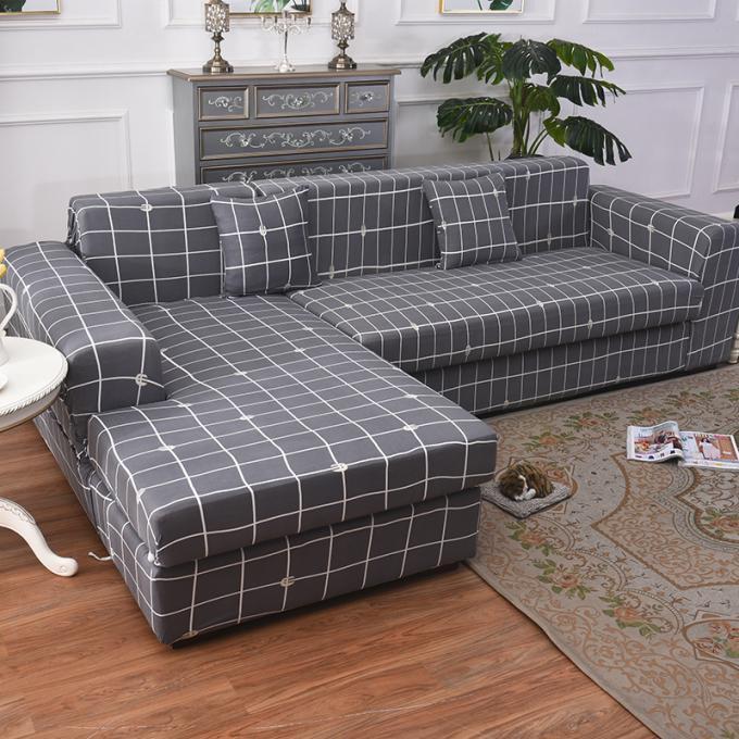 Gray L Shaped Sofa cover Plaid Printed Elastic Slipcover Corner 1/2/3/4  Seater
