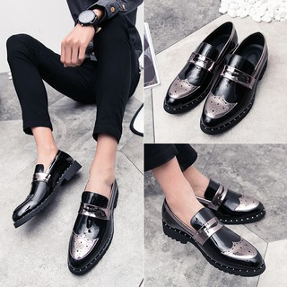 attractive style classic style of 2019 top-rated authentic Men Slip On Dress Shoes Leather Oxford Shoes Loafer Formal Low-Cut Shoes