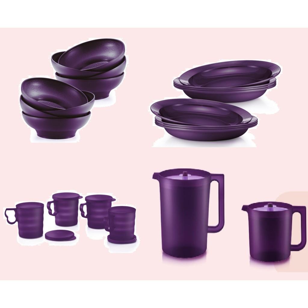 Persediaan dapur J/X SALE Tupperware Purple Royale Deep Plate 550ml / Bowl 600ml / Mug 350ml / Pitcher 4.2L / Pitcher 1.