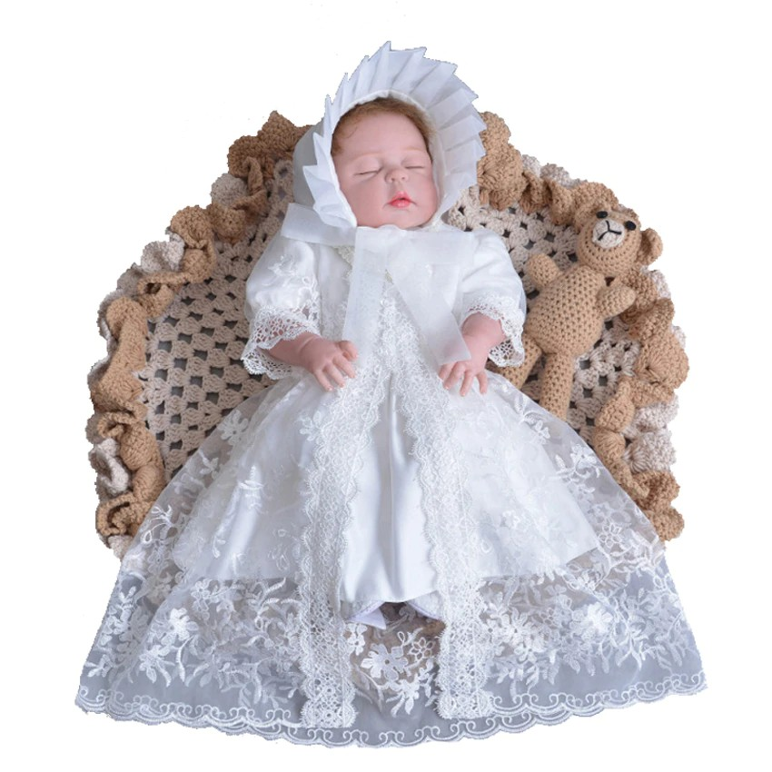 e3bf8a3218d38 3pcs Newborn Baby Girl Set Dress Hat and Shawl White Christening Gown Lace