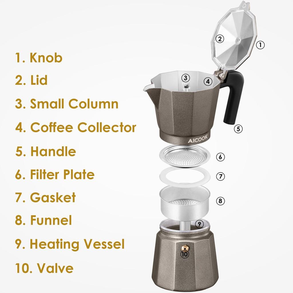 Cafetière aicook Filtre MacHine à Café Bean To Cup Café 6 tasses et