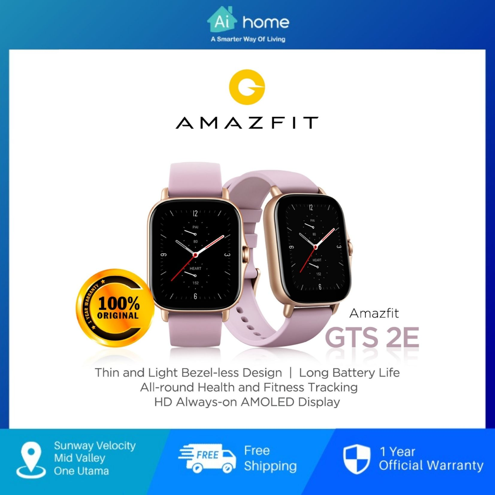 Amazfit GTS 2e Fitness Smart Watch - Global Version | AMOLED Display | 50+ Watch Face | Blood-Oxygen [ Aihome ]