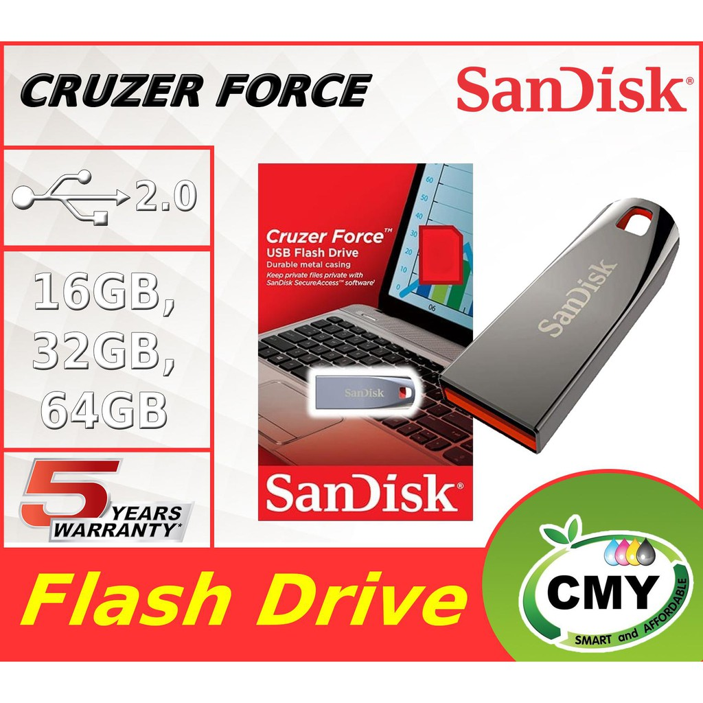 Sandisk Cruzer Force Metal USB Pendrive Thumb Drive CZ71 ( 16GB 32GB 64GB )