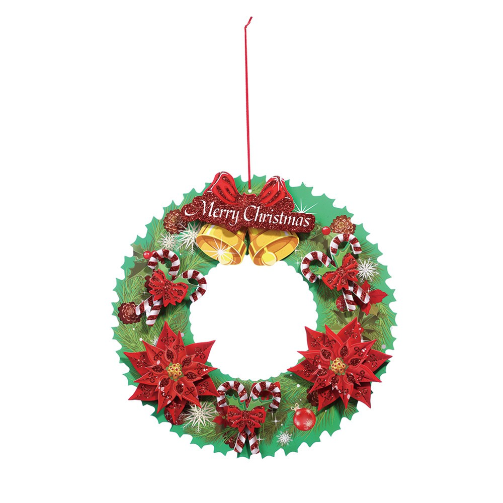 40 Cm Christmas Holiday Paper Wreath Door Ornament Garland Decoration
