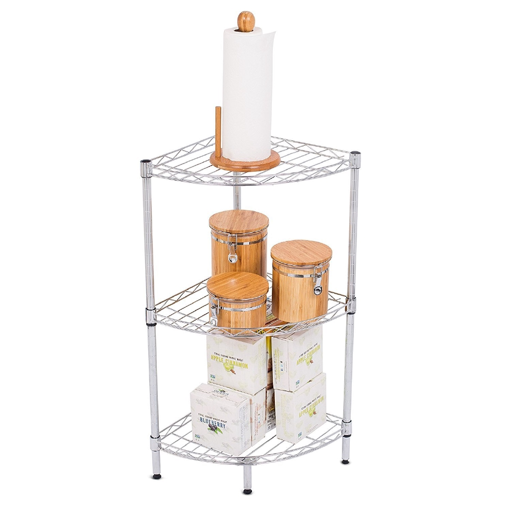 Best 3 Tier Corner Wire Shelving Chrome Heavy Duty Shelf Adjustable Rack Unit