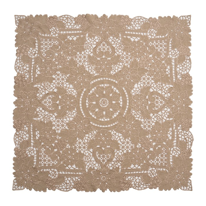 Xky-12 Floral Embroidery Full Cutwork Coffee Tablecloth/ Centerpiece/Table Topper/Overlays. Easy Care Polylinen 90x90cm