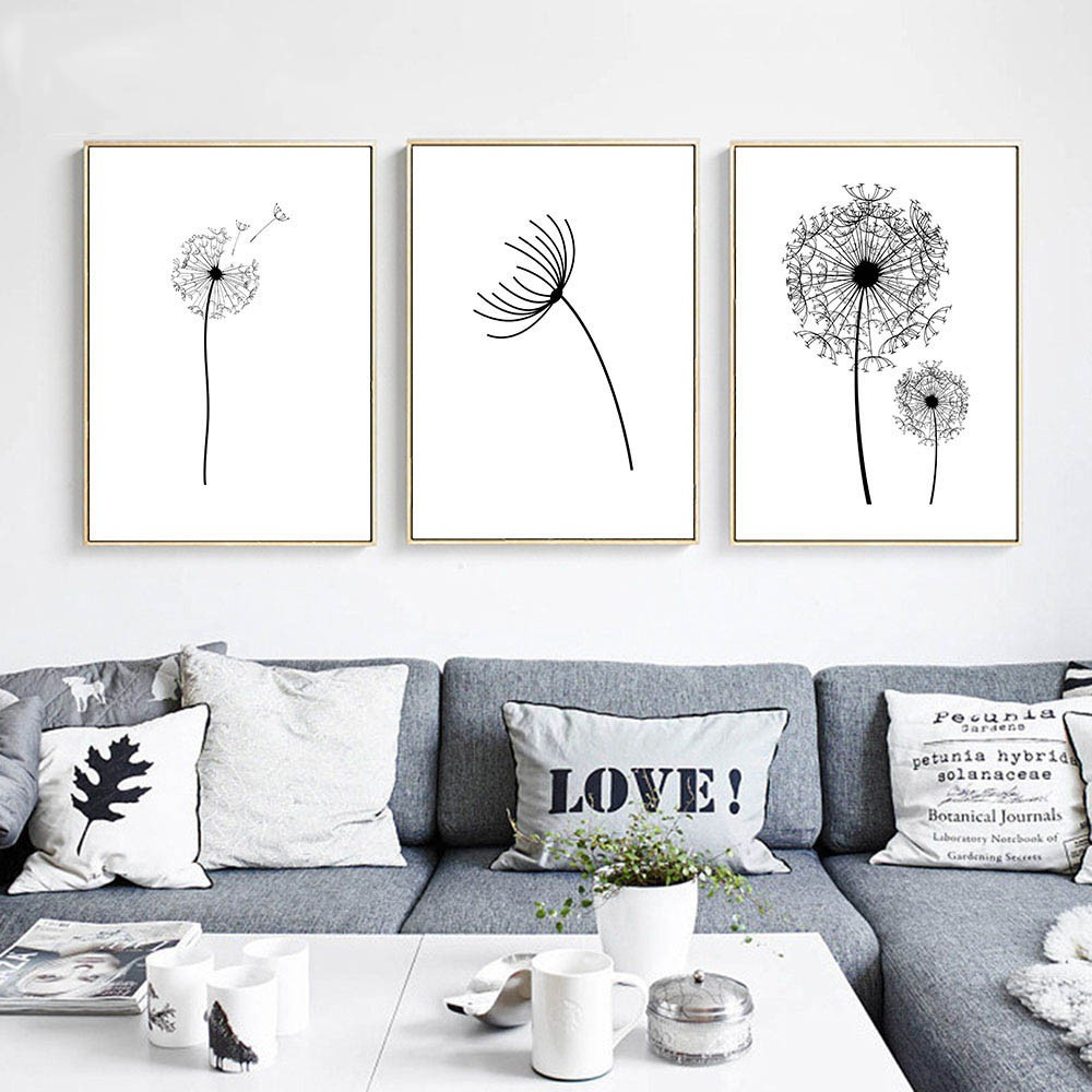 Wall Art Canvas Poster Black White Minimalist Print Painting Dandelion Flower Landscape Picture For Living Room Decor Shopee Malaysia