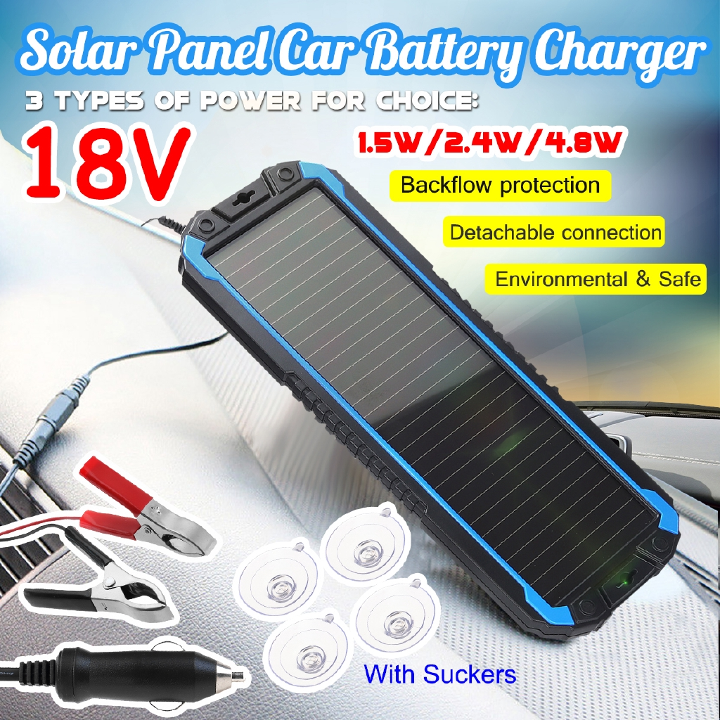 Portable Solar Panel Power Battery Charger Backup 1 5 2 4 4 5w 18v