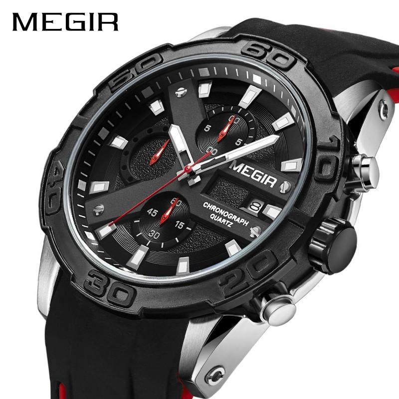 MEGIR 2063 Fashion Sport Watch Men Quartz Waterproof Calendar Clock Luminous   8f4d23d563