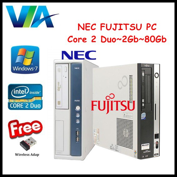 (FREE Power Cable) NEC/FUJITSU ESPRIMO~Core 2 Duo~2Gb Ram~80Gb HDD~Win 7