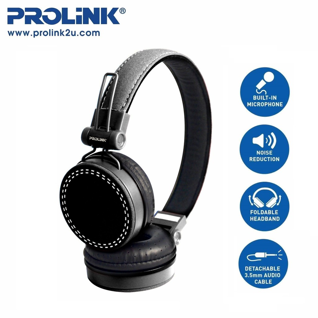 PROLiNK Corded Stereo Headset Foldable Headband Built-in Microphone PHC1003E