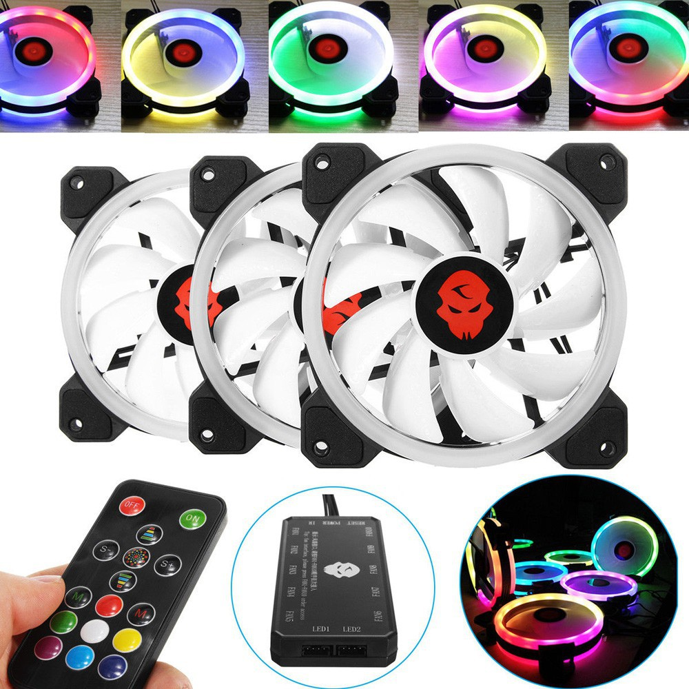 Computer Case PC RGB Cooling Fan Adjust LEDQuiet Cooler + Remote Control