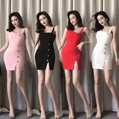 89aede66651d0 Real shot Summer new style sexy nightclub women's shoulder straps waist  slimming split bag hip dress female tide