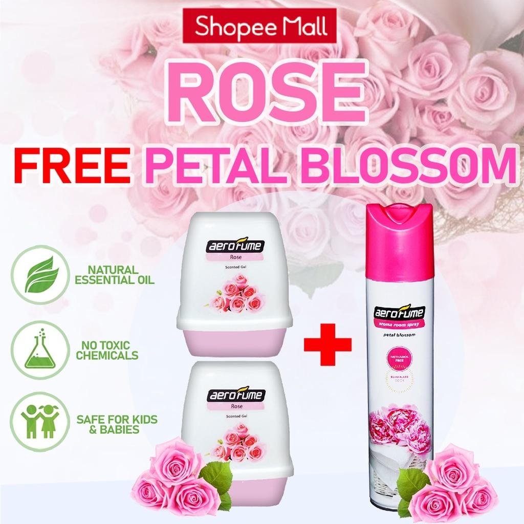Petal Blossom Aroma Spray (1 Pcs) + Rose Scented Gel (2 Pcs) [Bundle] Fragrance