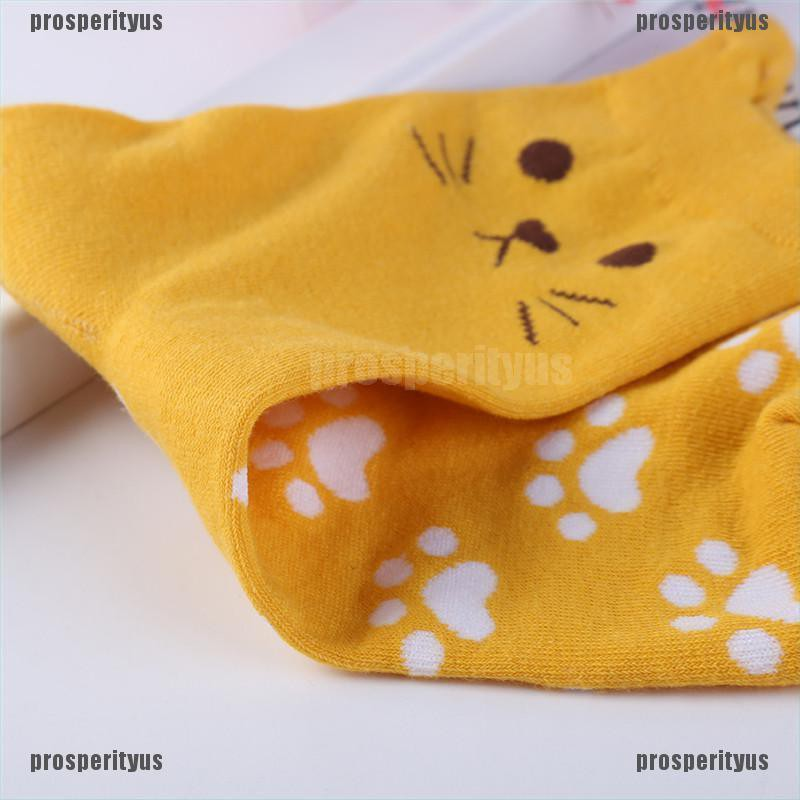 Hot Sale Candy Colors Fashion Cat Footprints Cute Cotton Socks Warm Women/'s Cute
