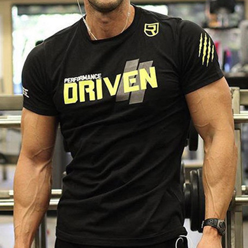 Men's Bodybuilding T Gym Fitness Sport Summer Shirt Muscle Fit Cotton c3lKFJT1