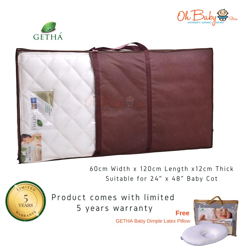 best service fd567 a0ad7 Getha Baby Latex Mattress [Free Natural Latex Dimple Pillow ...