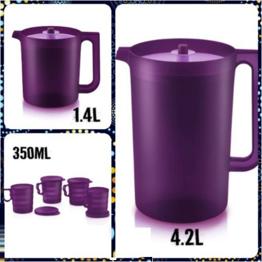 Tupperware Purple Royale Giant Pitcher (1) 4.2L/(1)1.4L / Mugs with seal (4) 350ml
