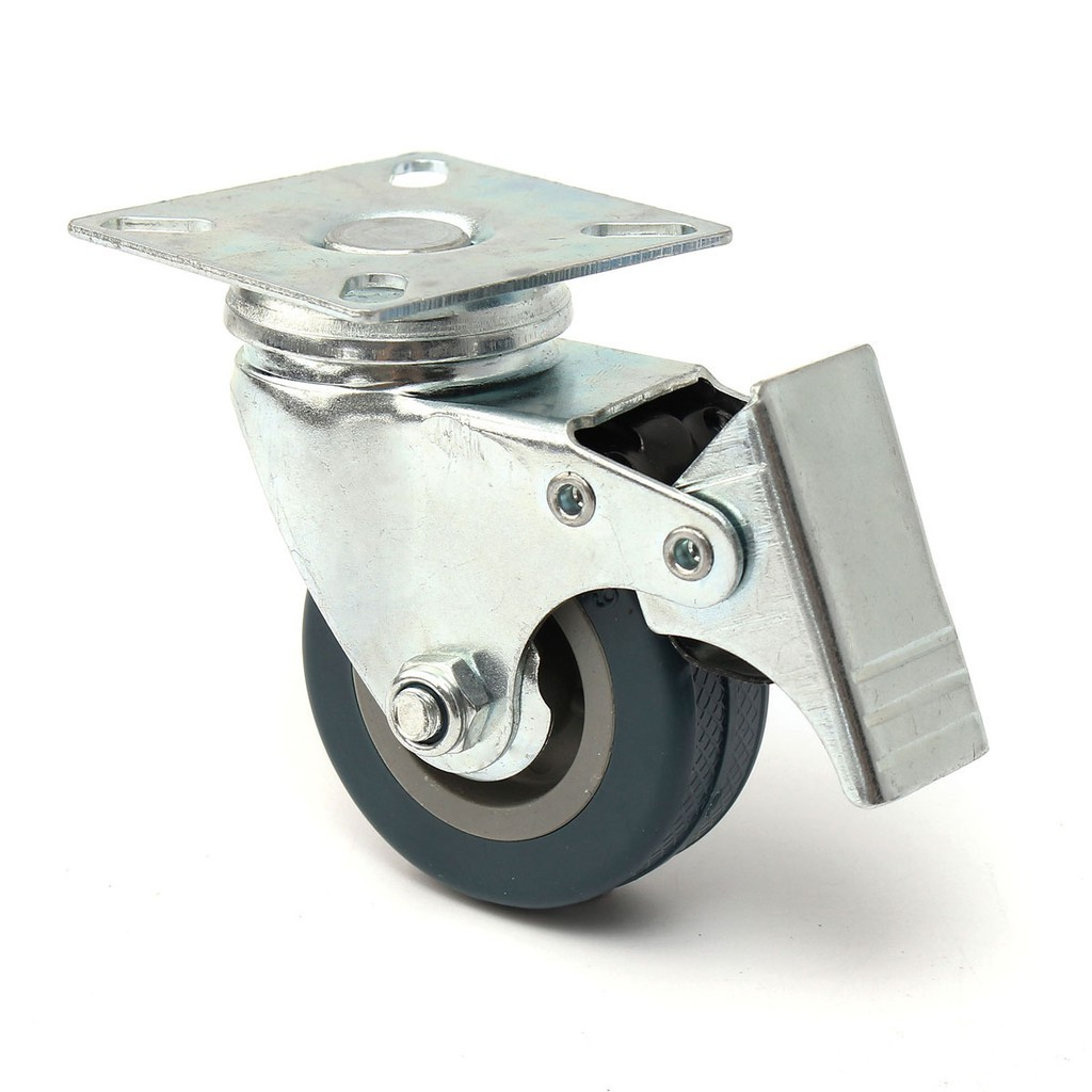 4 x Heavy Duty 50mm Rubber Swivel Castor Wheels Trolley Furniture Caster Brake