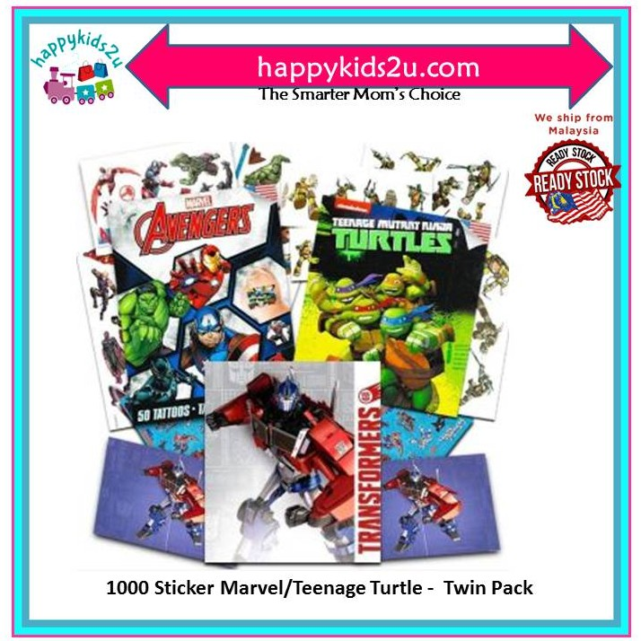 [Ready Stock] 1000 Sticker Marvel/Tmnt Twin Pack