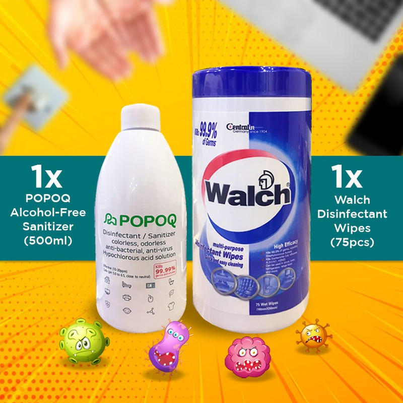 【HOCL Formulated in Korea to Destruct Germs】1x Popoq + Walch Disinfect Wipes