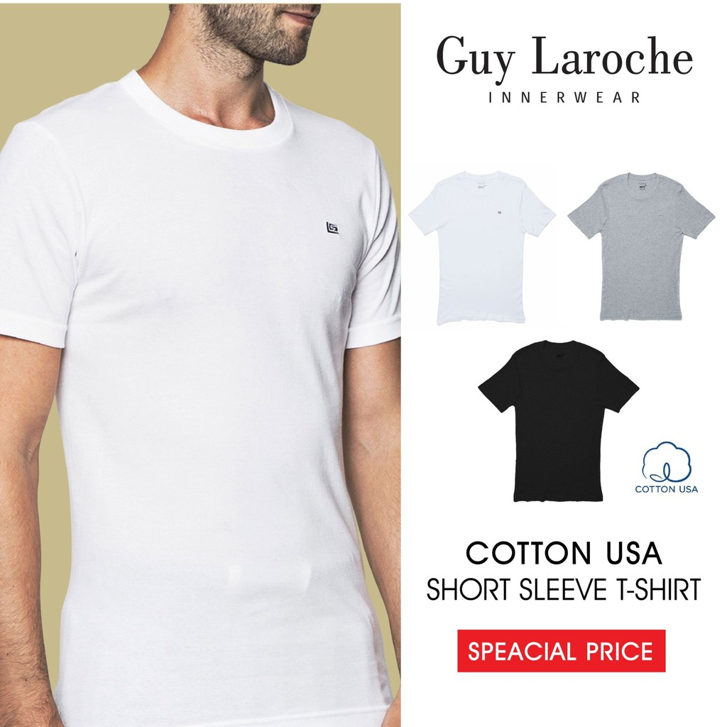 Guy Laroche  BODY FIT  เสื้อยืดชาย T-Shirt ( มี 3 โทนสีสุภาพ )(JVU