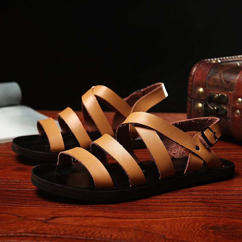 Big Size Men's Leather Gladiator Sandal Outdoor Beach Shoe Breathable Waterproof