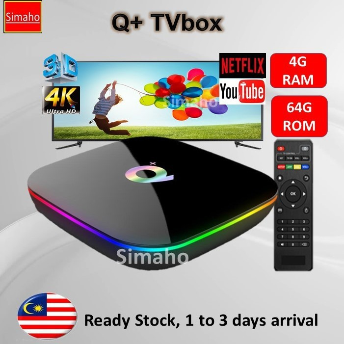 🔥Pre-installed live channels + Latest Apps🔥 Q+ TVbox 4G Ram 64G Rom Wifi  4K IPTV Android 8 1 TV Box Netflix Youtube