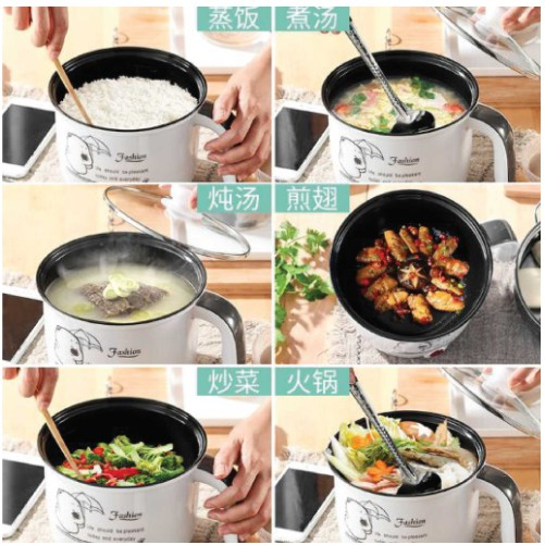 3 Pin Plug 1.8L Non Stick Electric Pot Frying Pan Rice Portable Mini Rice Cooker Periuk Nasi Elektrik Ready Stock