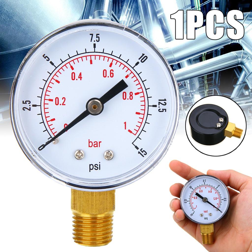 0-15 psi//0-1 bar Mini Low Pressure Gauge For Fuel Air Oil Or Water BSPT