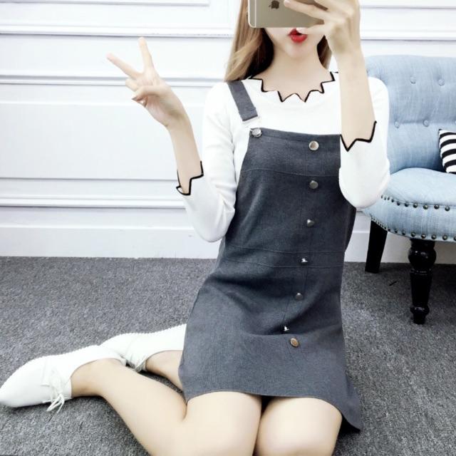 [Free Size]Korean Student Knitted Jumpsuits 背带裙秋冬女装新款韩版针织吊带一步裙显瘦学院风高腰修身连衣裙