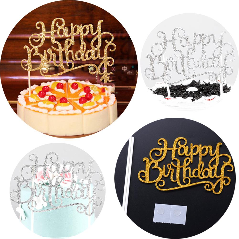 Glitter Sparkly Happy Birthday DIY Cake Pick Topper Party Decor