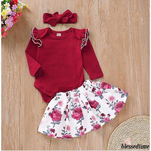 1db3bcb93031f SS.-3PCS Newborn Infant Baby Girl Romper Tops Floral Dress Skirt ...